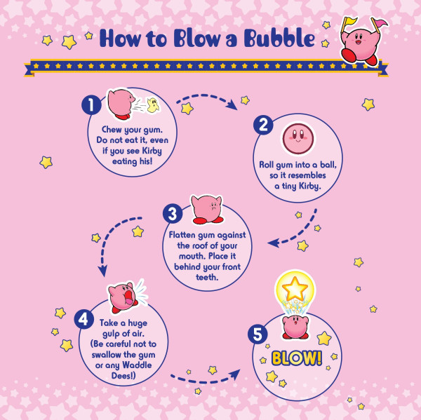 nintendo of america tweeted an infographic that gives step by step instructions on how to blow a bubble all you have to do is act like kirby