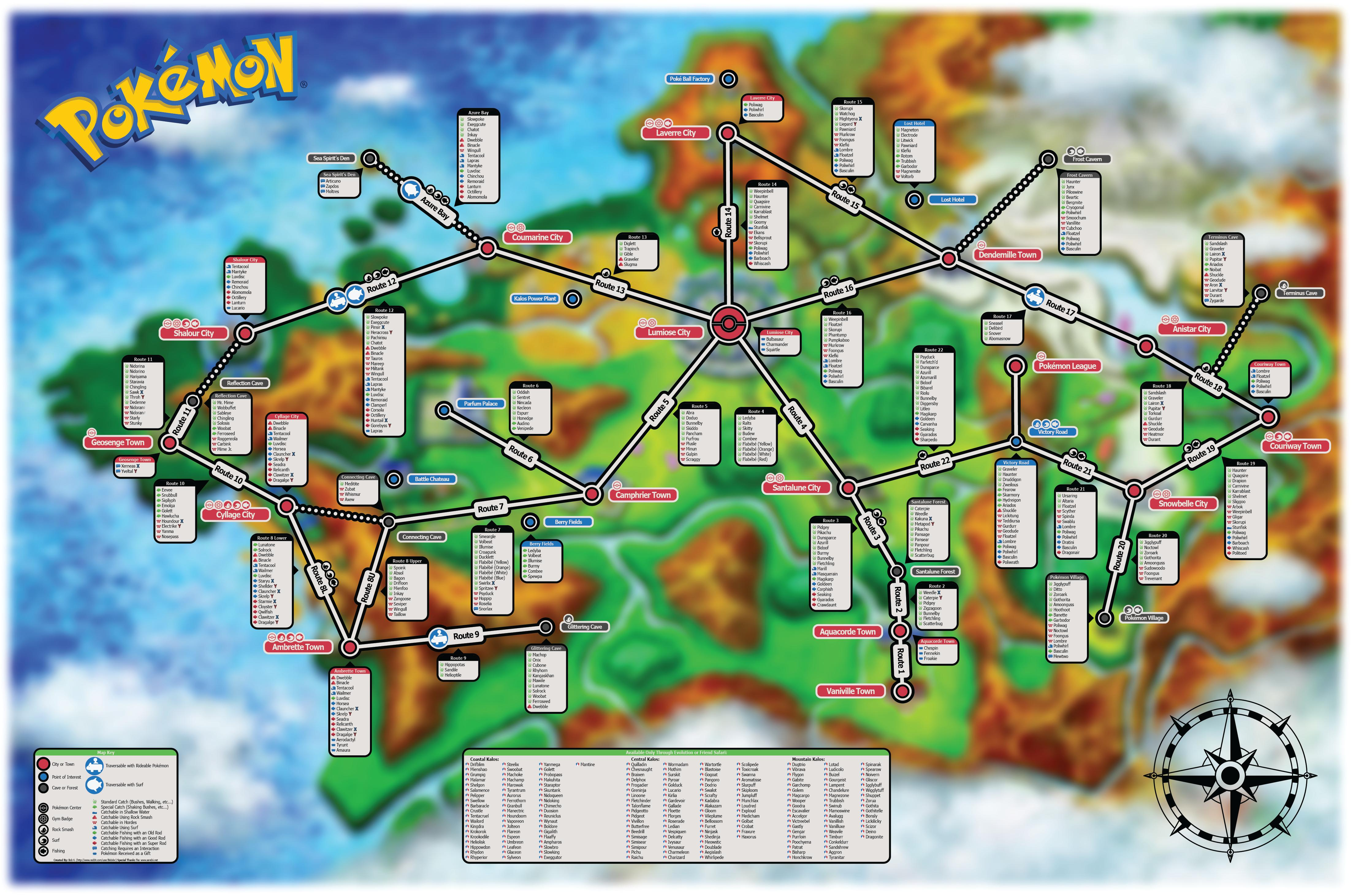 Spoiler heres the location of every pokemon in pokemon x y map pokemonxyfindmap altavistaventures Images