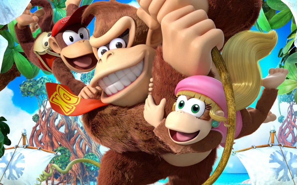 donkey_kong_country_tropical_freeze_characters_swinging