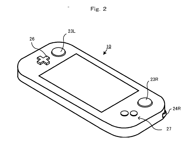 nintendo gamepad patent shows l  r shoulder buttons with