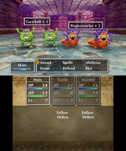 The turn-based battle system works systematically.
