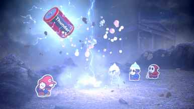 Mario used Thunder. It was super effective!