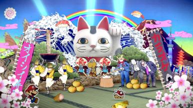 Mario used... a gigantic cat of luck! It was super random!