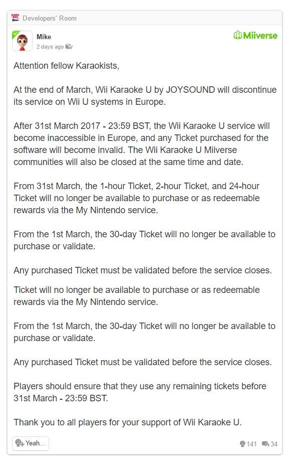 Nintendo Is Shutting Down Wii Karaoke U