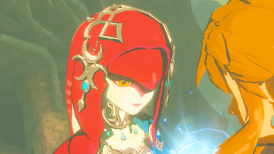 Mipha and Link share a heartfelt scene.