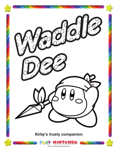 Kirby Coloring Page 25th Anniversary 4
