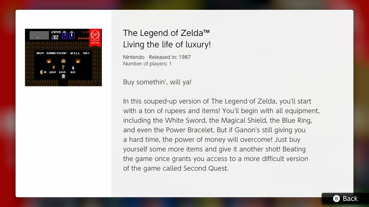 NES – Nintendo Switch Online adds The Legend of Zelda special version