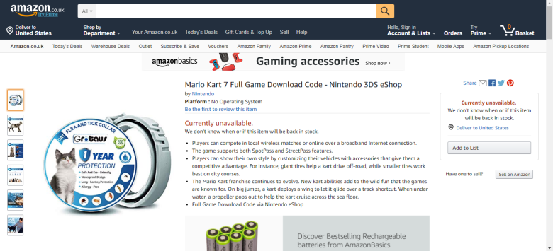 Mario Kart 7 attached to pictures of flea collar for cats on Amazon